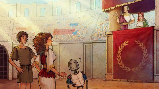 """""""Dans l'arène"""". Illustration pour Cyprien, L'épopée temporelle S02 Ep.05 sur Youtube"""